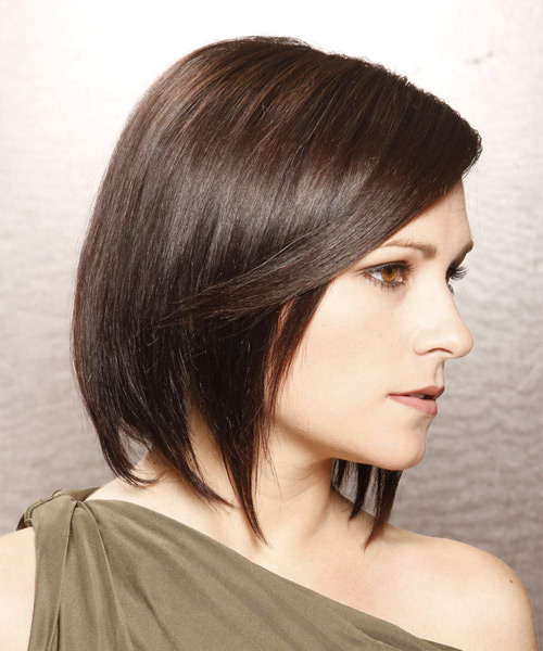 Medium Straight Layered  Dark Brunette Bob  Haircut   with Light Brunette Highlights - Side View