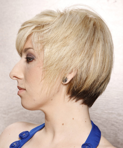 Short Straight   Light Platinum Blonde   Hairstyle with Side Swept Bangs  and  Blonde Highlights - Side View