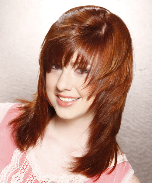 Long Straight Casual    Hairstyle with Layered Bangs  -  Copper Red Hair Color - Side View