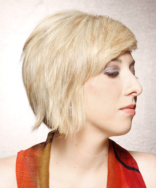 Short Straight   Golden   Hairstyle with Side Swept Bangs  - Side View