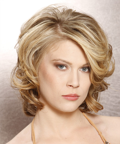 Medium Curly Formal    Hairstyle with Side Swept Bangs  - Medium Blonde Hair Color with Light Blonde Highlights - Side View