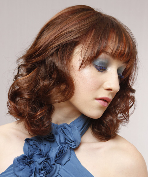 Medium Wavy Formal   Hairstyle with Layered Bangs  - Medium Brunette (Auburn) - Side View