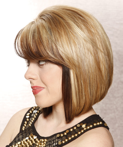 Medium Straight Formal Bob  Hairstyle with Side Swept Bangs  - Medium Brunette - Side View