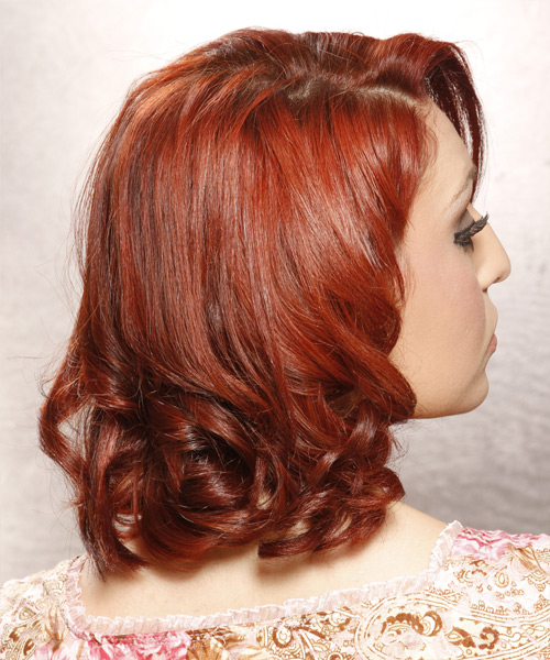 Medium Curly Formal    Hairstyle   - Dark Bright Red Hair Color - Side View