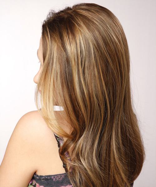 Long Straight Formal    Hairstyle   - Medium Chestnut Brunette Hair Color with Light Blonde Highlights - Side View