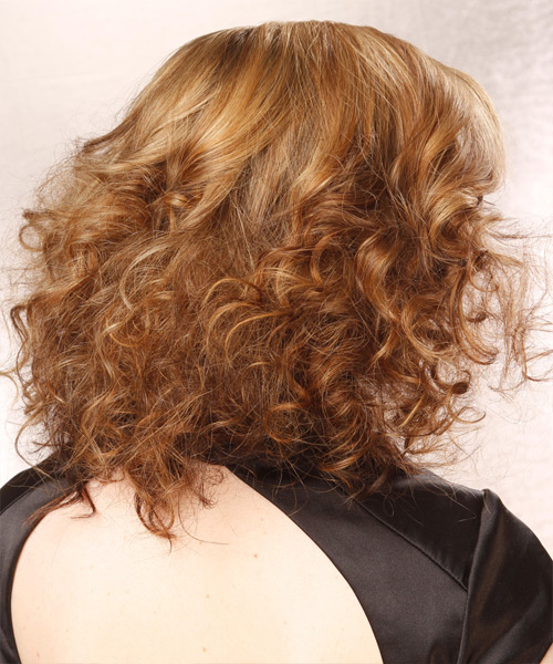 Medium Curly Formal    Hairstyle   - Medium Golden Blonde Hair Color with Light Blonde Highlights - Side View