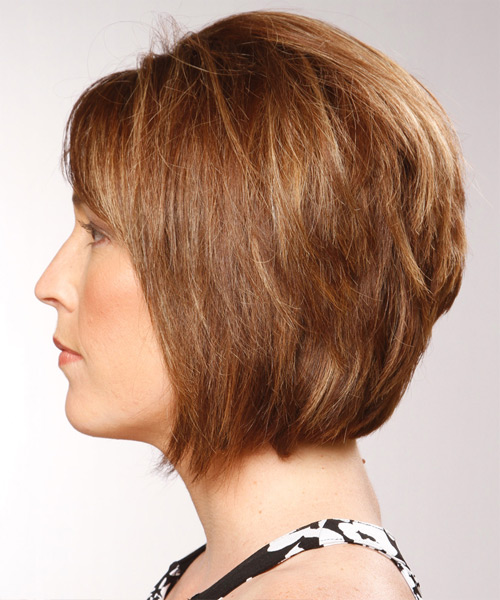 Medium Straight    Copper Brunette Bob  Haircut with Side Swept Bangs  and  Blonde Highlights - Side View
