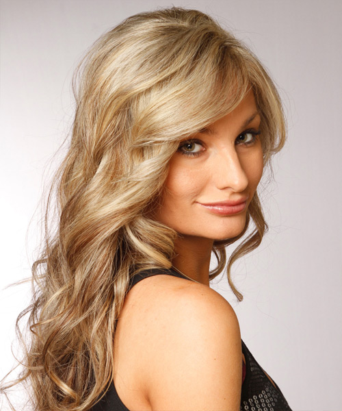 Long Wavy Formal    Hairstyle with Side Swept Bangs  - Light Champagne Blonde and Medium Brunette Two-Tone Hair Color - Side View