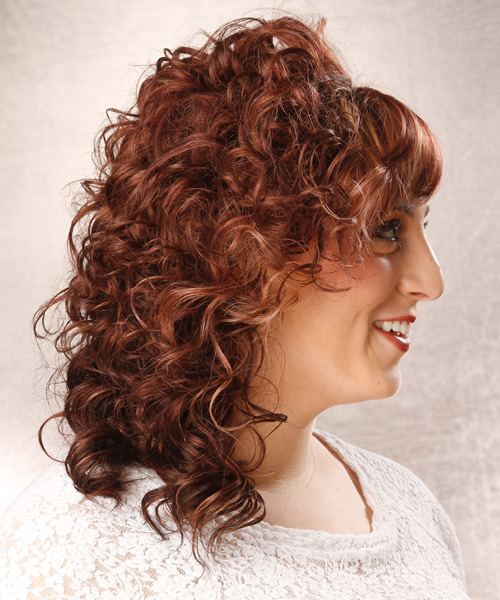 Medium Curly Formal    Hairstyle with Side Swept Bangs  - Medium Red Hair Color with Light Blonde Highlights - Side View