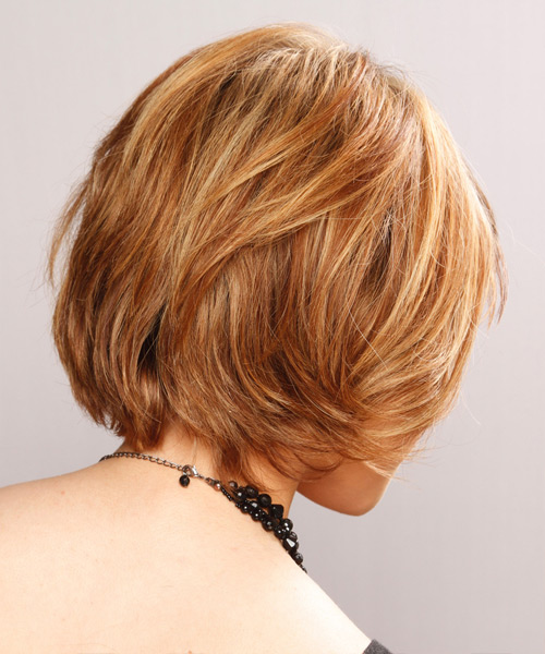Short Straight   Light Copper Brunette   Hairstyle with Side Swept Bangs  and Light Blonde Highlights - Side View