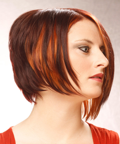 Short Straight Alternative  Asymmetrical  Hairstyle   - Dark Mahogany Red Hair Color with Orange Highlights - Side View