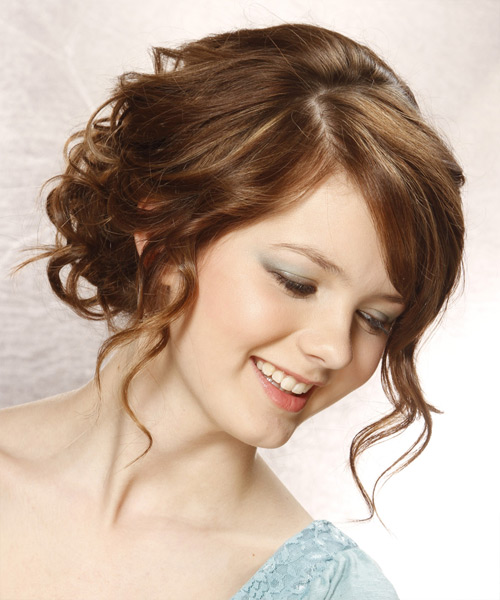 Updo Long Curly Formal  Updo Hairstyle with Side Swept Bangs  - Medium Brunette - Side View
