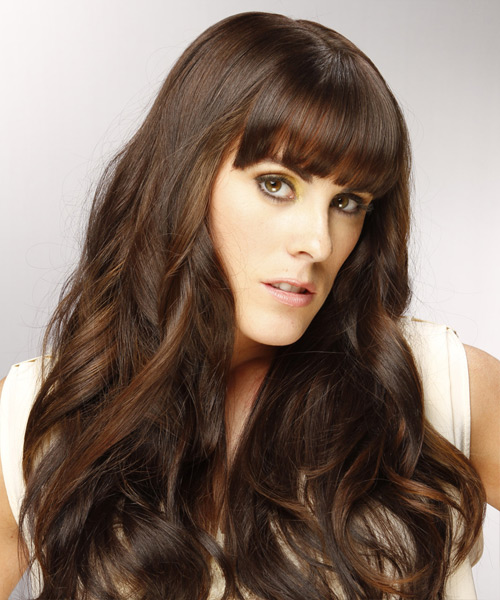 Long Wavy Formal   Hairstyle with Blunt Cut Bangs  - Dark Brunette (Chocolate) - Side View