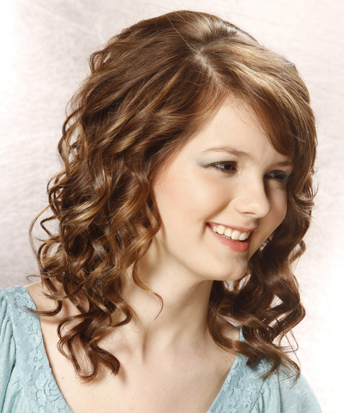Medium Curly Formal    Hairstyle with Side Swept Bangs  - Medium Chestnut Brunette Hair Color - Side View