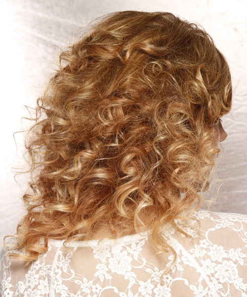 Long Curly   Dark Honey Blonde  Half Up Hairstyle with Side Swept Bangs  and  Blonde Highlights - Side View