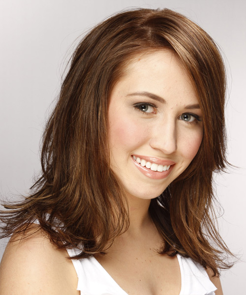 Medium Wavy   Light Brunette   Hairstyle with Side Swept Bangs  - Side View