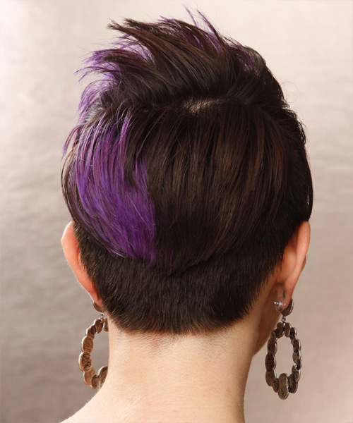 Short Straight   Dark Brunette and Purple Two-Tone Emo  Hairstyle with Side Swept Bangs  - Side View