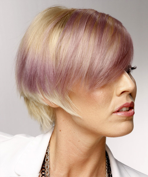 Short Straight Casual    Hairstyle with Side Swept Bangs  and Purple Two-Tone - Side View
