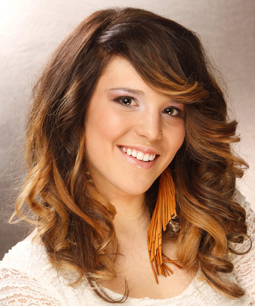Long Wavy    Brunette and Dark Blonde Two-Tone   Hairstyle with Side Swept Bangs  - Side View
