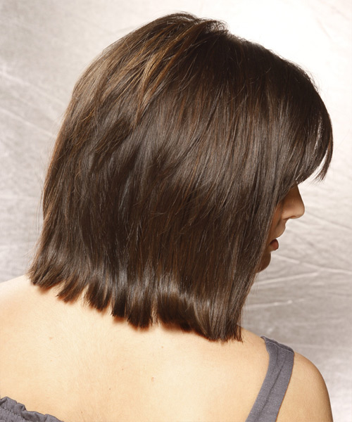 Medium Straight Casual Bob  Hairstyle with Side Swept Bangs  - Dark Brunette - Side View