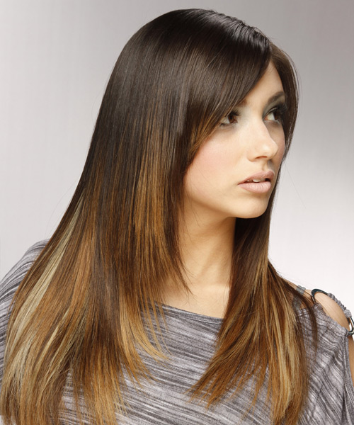 Long Straight Formal   Hairstyle with Side Swept Bangs  - Dark Brunette (Golden) - Side View