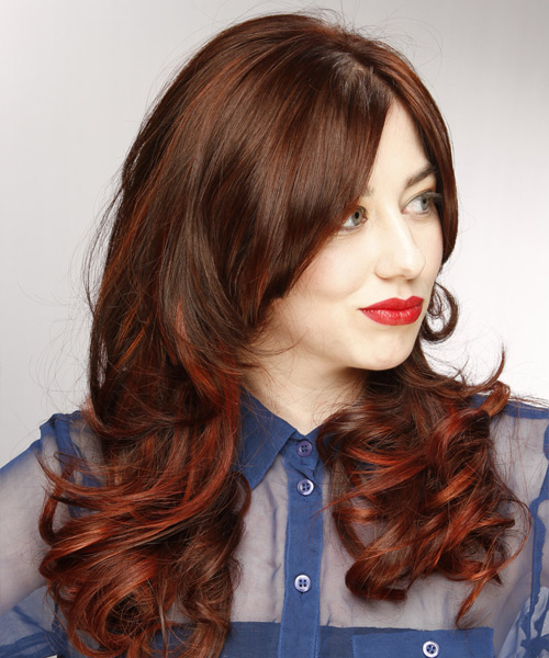 Long Wavy    Chocolate Brunette   Hairstyle with Side Swept Bangs  and Dark Red Highlights - Side View