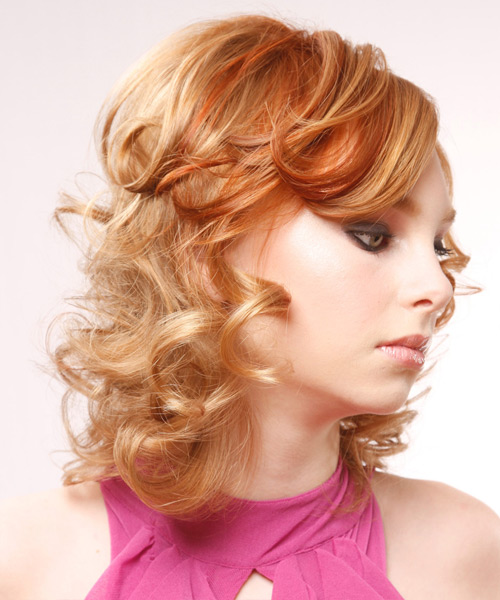 Medium Curly Formal    Hairstyle with Side Swept Bangs  - Light Ginger Red Hair Color with Medium Red Highlights - Side View