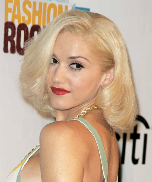 Gwen Stefani Medium Straight Formal   Hairstyle   - Side View