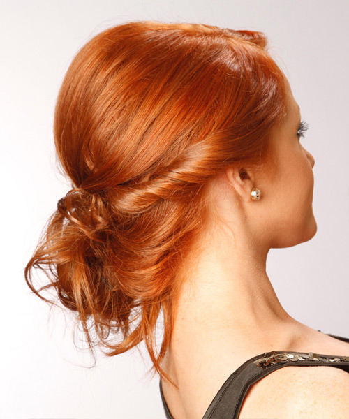 Long Curly Formal  Braided Updo Hairstyle   -  Ginger Red Hair Color - Side View