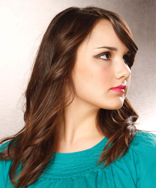 Long Wavy Casual   Hairstyle   - Dark Brunette (Chocolate) - Side View