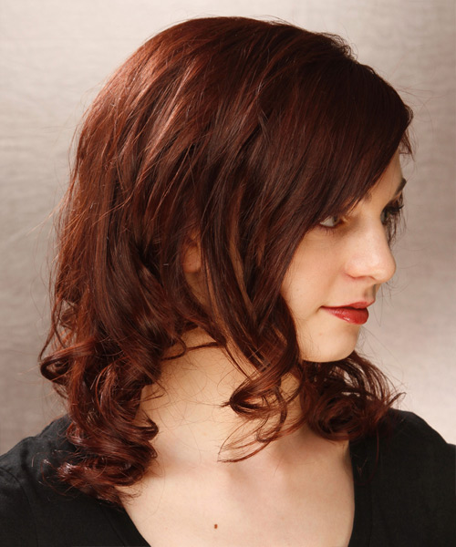 Medium Curly   Dark Mahogany Red   Hairstyle   - Side View
