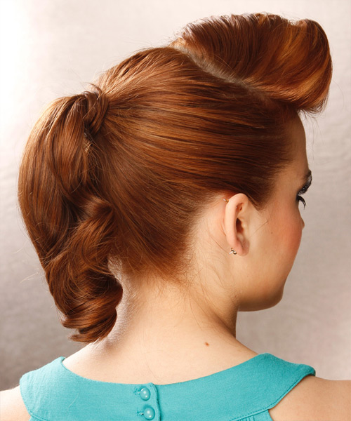 Long Curly    Copper Red  Updo    - Side View