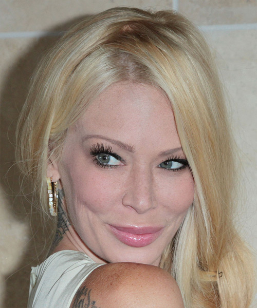 Jenna Jameson  Long Curly   Light Golden Blonde Braided Updo    - Side View