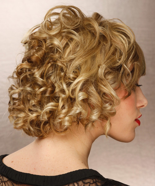 Short Curly   Dark Golden Blonde   Hairstyle   with Light Blonde Highlights - Side View