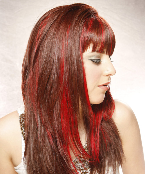 Long Straight Alternative   Hairstyle with Blunt Cut Bangs  - Medium Red (Bright) - Side View