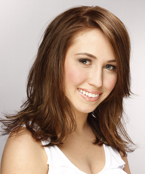 Medium Straight    Chestnut Brunette   Hairstyle   - Side View