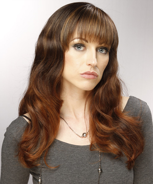 Long Wavy Casual   Hairstyle with Blunt Cut Bangs  - Medium Brunette (Auburn) - Side View