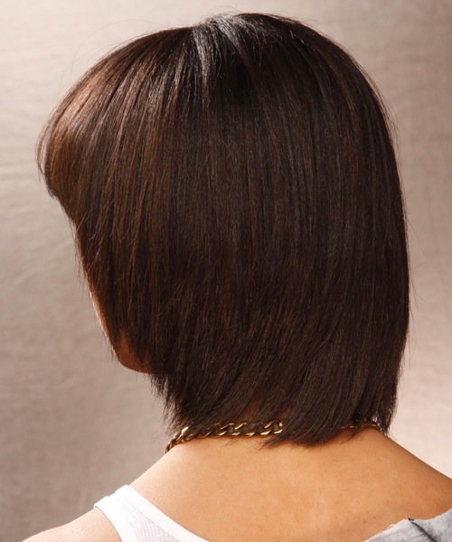 Medium Straight Formal Bob  Hairstyle with Blunt Cut Bangs  - Medium Brunette (Mocha) - Side View