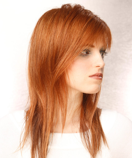 Long Straight Casual   Hairstyle with Asymmetrical Bangs  - Light Red - Side View