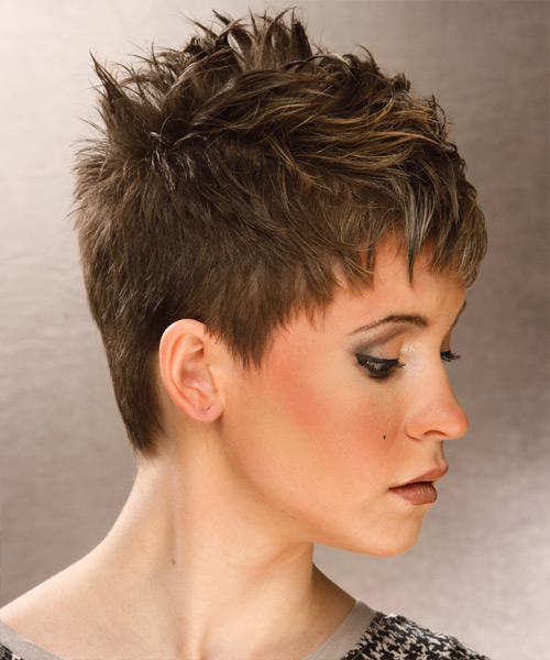 Short Straight Casual    Hairstyle   - Light Ash Brunette Hair Color with Light Blonde Highlights - Side View