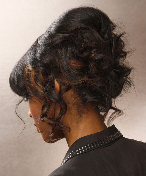 Long Curly Formal   Updo Hairstyle with Blunt Cut Bangs  - Black  Hair Color - Side View