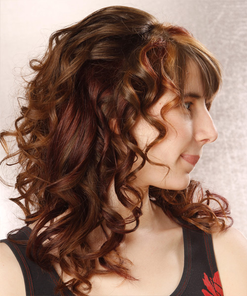 Long Curly Formal   Half Up Hairstyle with Layered Bangs  - Auburn Hair Color with  Red Highlights - Side View