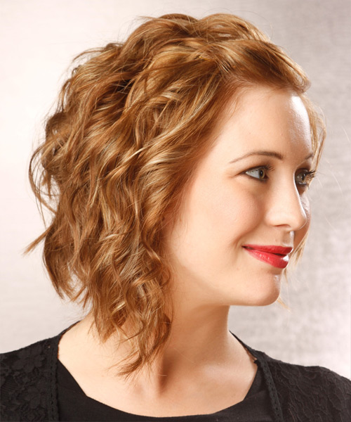Medium Wavy   Dark Golden Blonde   Hairstyle   with Light Blonde Highlights - Side View
