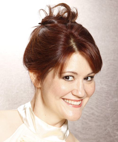 Long Straight   Dark Red  Updo  with Side Swept Bangs  - Side View