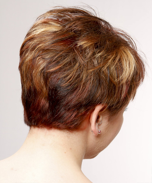 Short Straight Casual    Hairstyle   -  Burgundy Brunette Hair Color with Light Blonde Highlights - Side View