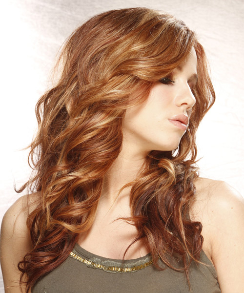 Long Wavy   Light Auburn Brunette   Hairstyle   with Light Blonde Highlights - Side View