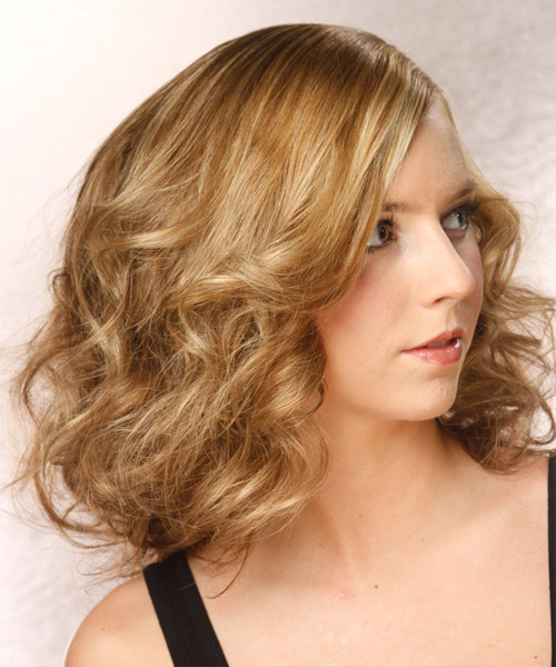 Medium Wavy Layered  Dark Golden Blonde Bob  Haircut   with Light Blonde Highlights - Side View