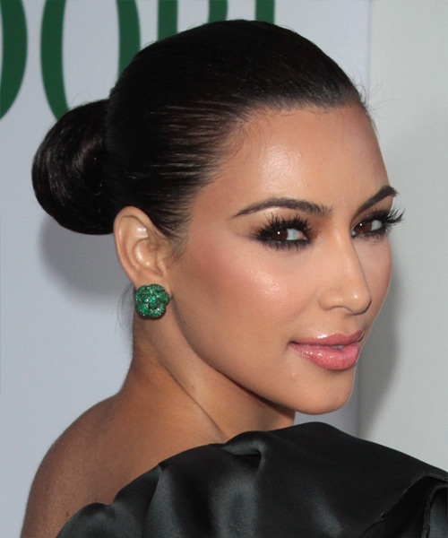 Kim Kardashian Updo Long Curly Formal Wedding Updo Hairstyle   - Black - Side View