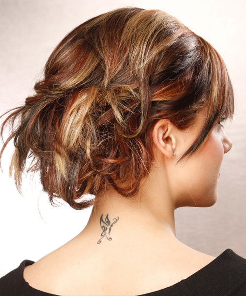 Updo Long Curly Formal  Updo Hairstyle with Side Swept Bangs  - Medium Brunette (Auburn) - Side View