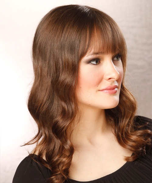 Long Wavy Casual   Hairstyle with Blunt Cut Bangs  - Light Brunette (Chocolate) - Side View
